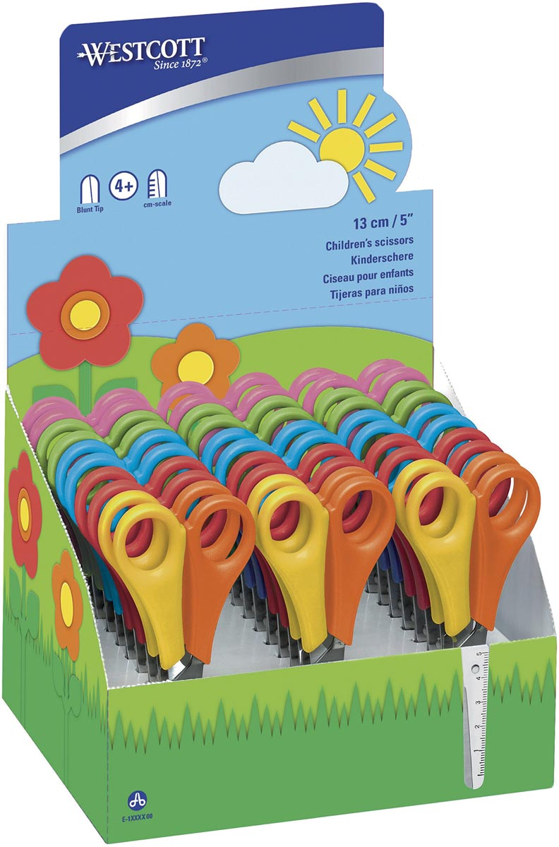 Westcott kinderschaar, display met 30 stuks in geassorteerde kleuren