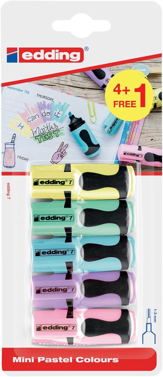Edding mini markeerstift 7, blister met 5 stuks (4 + 1 gratis) geassorteerde pastelkleuren