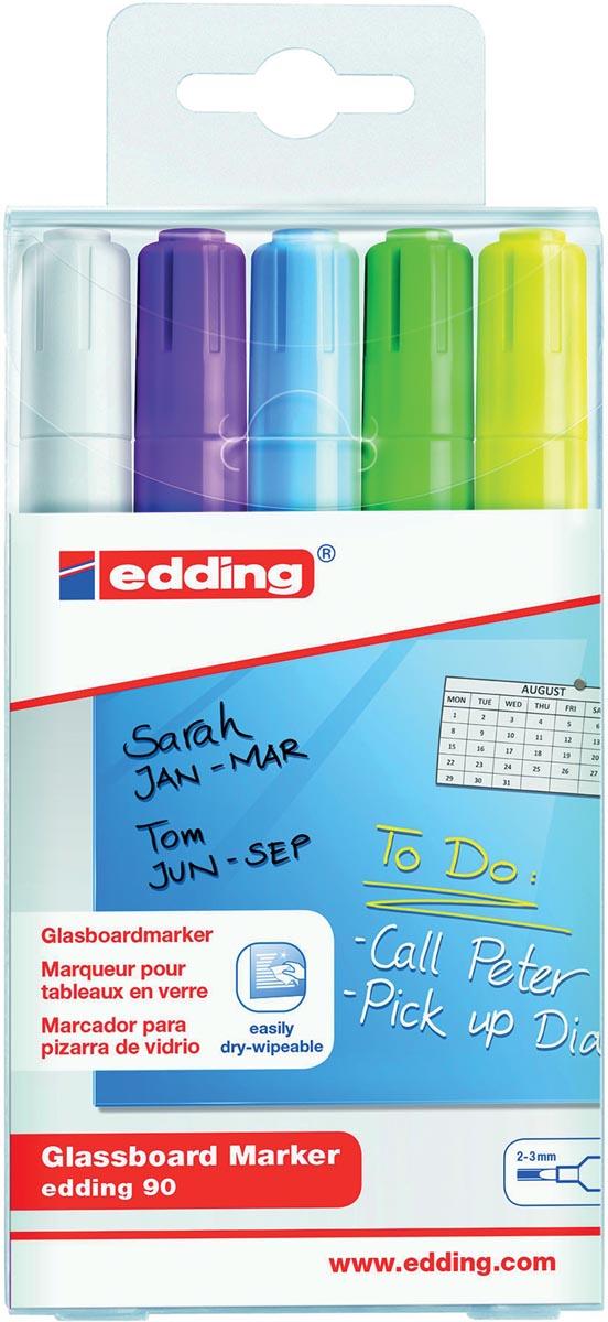 Edding glasbordmarker 90, ophangetui met 5 stuks in geassorteerde kleuren (assortiment 1)