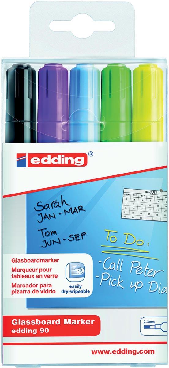 Edding glasbordmarker 90, ophangetui met 5 stuks in geassorteerde kleuren (assortiment 2)