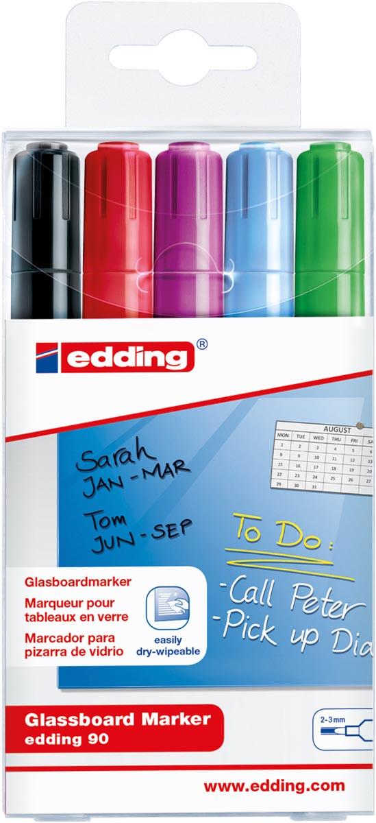 Edding glasbordmarker 90, ophangetui met 5 stuks in geassorteerde kleuren (assortiment 3)