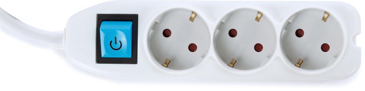 Perel contactdoos met 3 stopcontacten en schakelaar, inclusief kabelbox, wit, voor Nederland