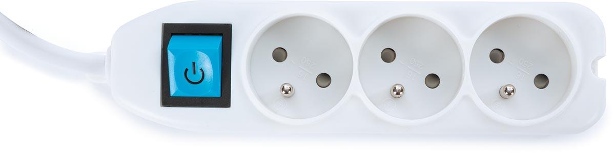 Perel contactdoos met 3 stopcontacten en schakelaar, inclusief kabelbox, wit, voor België