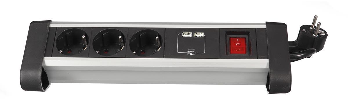 Perel desktop contactdoos met 3 stopcontacten, 2 USB-poorten en schakelaar, zwart, voor Nederland