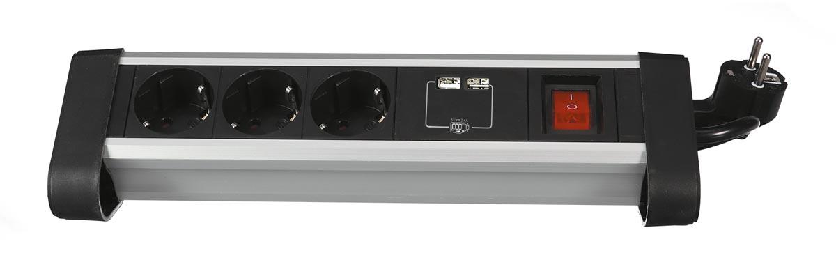 Perel desktop contactdoos met 3 stopcontacten, 2 USB-poorten en schakelaar, zwart, voor België