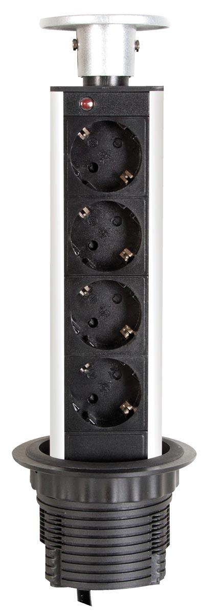 Perel inbouwcontactdoos met 4 stopcontacten, voor België