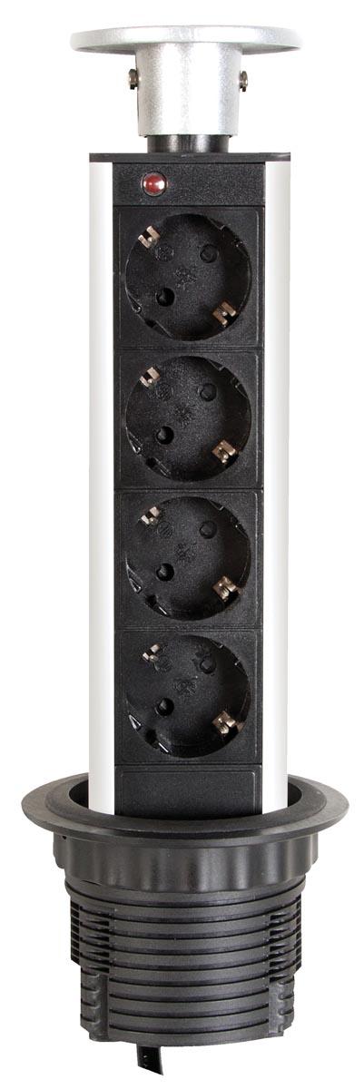 Perel inbouwcontactdoos met 4 stopcontacten, voor Nederland