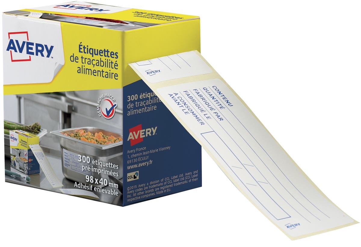 Avery etiketten voor voedselcodering, ft 98 x 40 mm, 1 rol met 300 afscheurbare etiketten in dispens