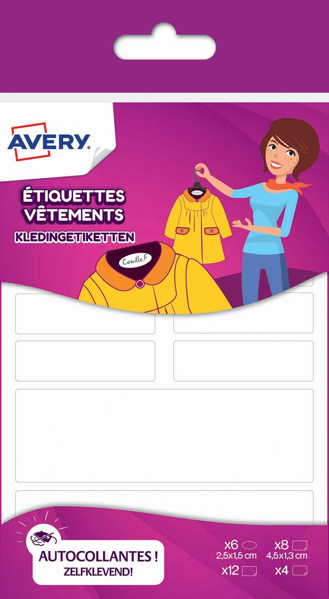 Avery Family kledingetiketten, wit, ophangbare 30 etik.