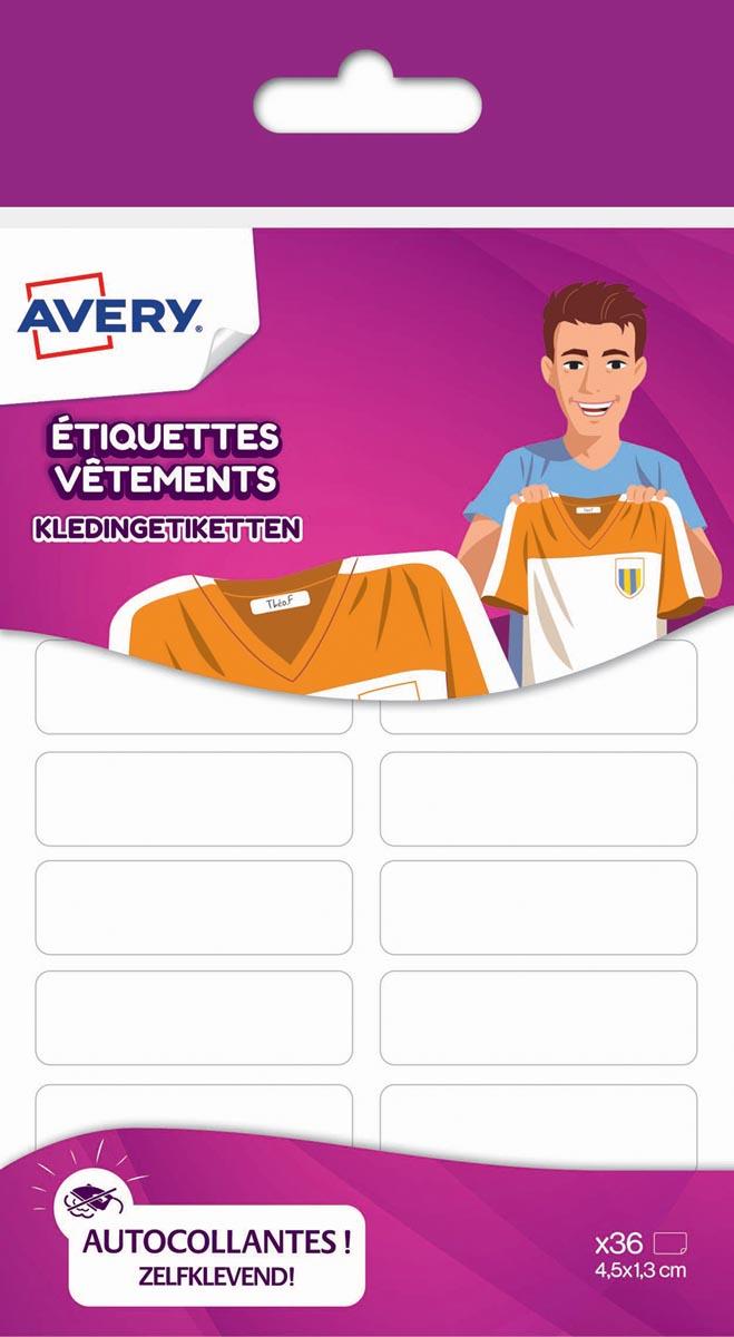 Avery Family kledinget., ft 4,5 x 1,3 cm, wit, 36 et.
