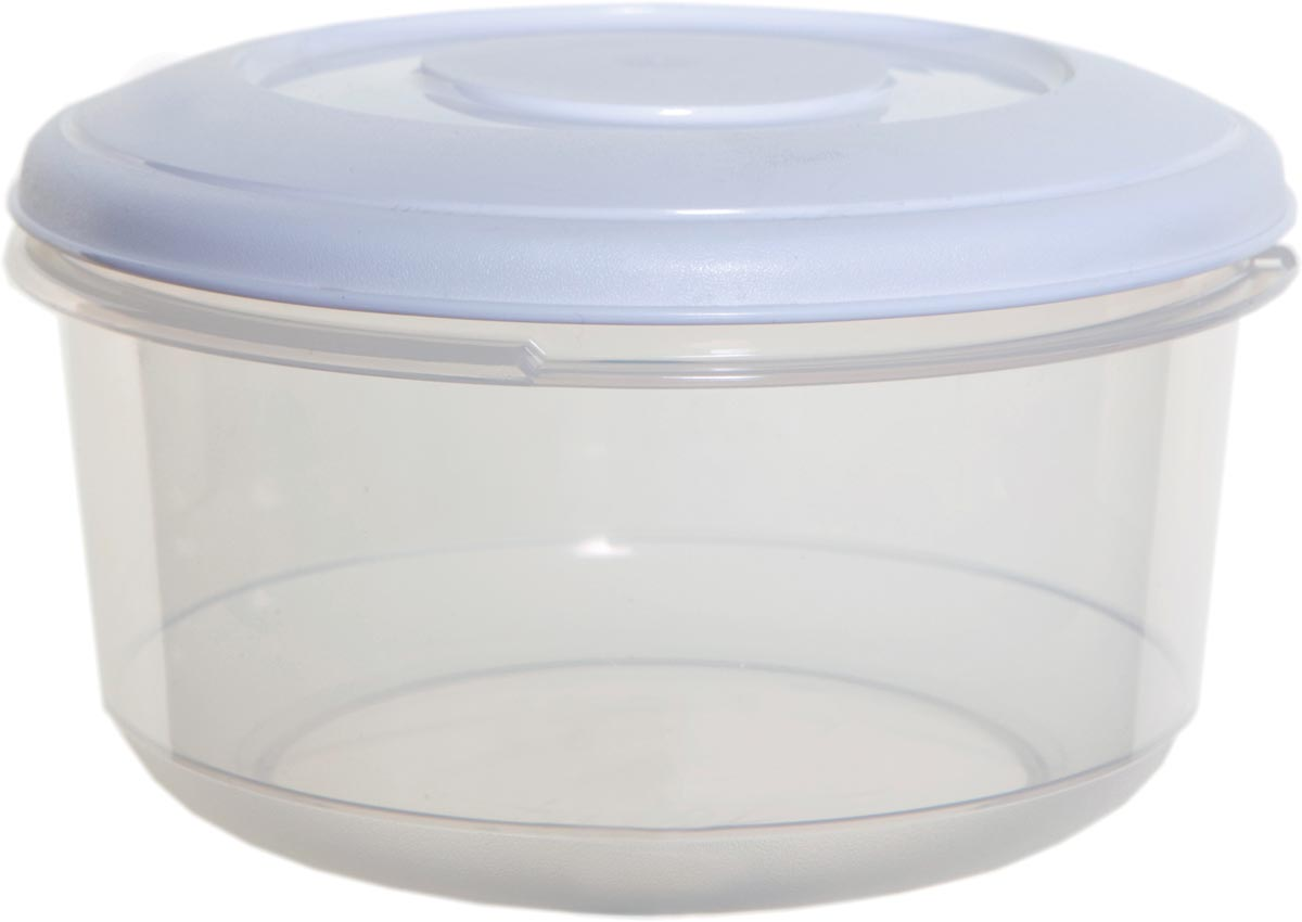 Whitefurze vershouddoos rond 2 liter, transparant met wit deksel