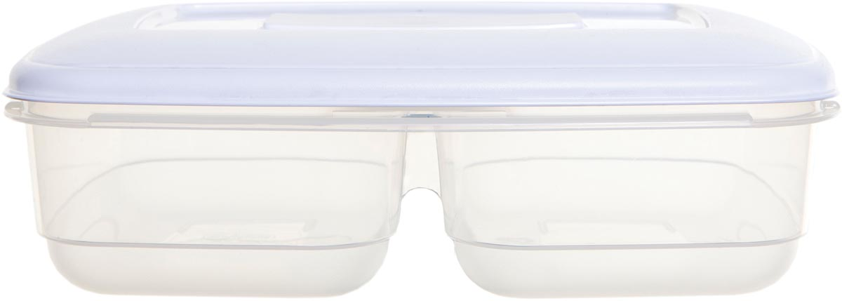 Whitefurze Twin vershouddoos 2,5 liter, met 2 compartimenten, transparant met wit deksel