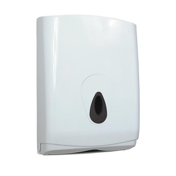 Handdoeksidpenser voor geveouwen handdoeken, voor 500 doekjes, wit