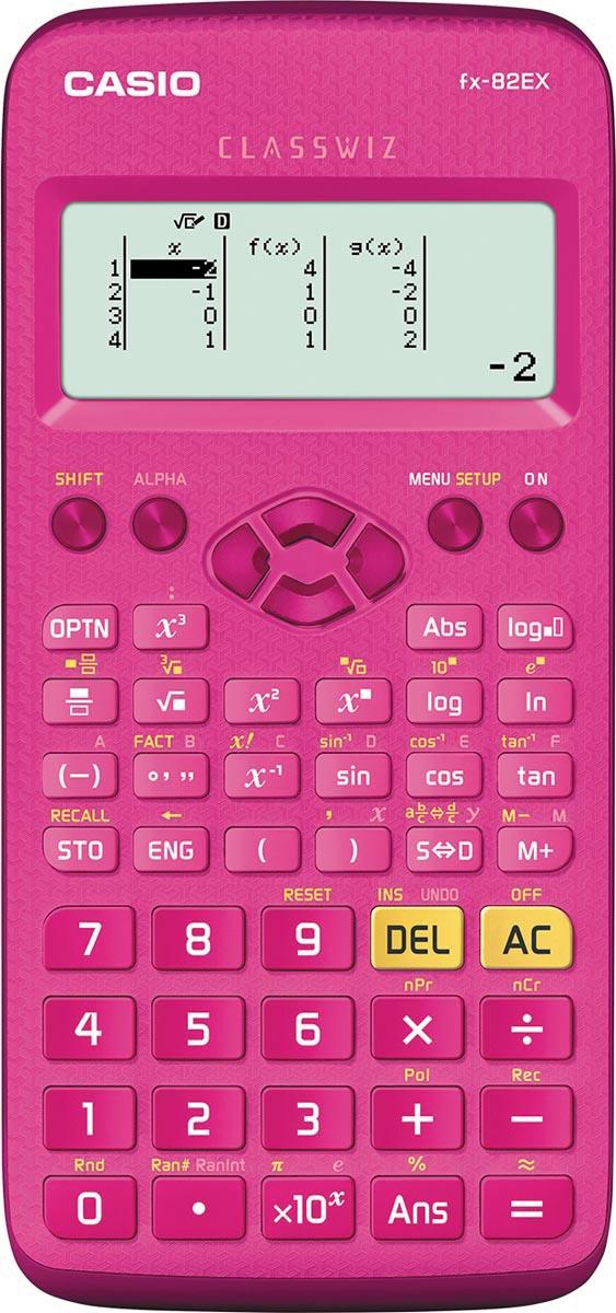 Casio wetenschappelijke rekenmachine FX-82EX, roze
