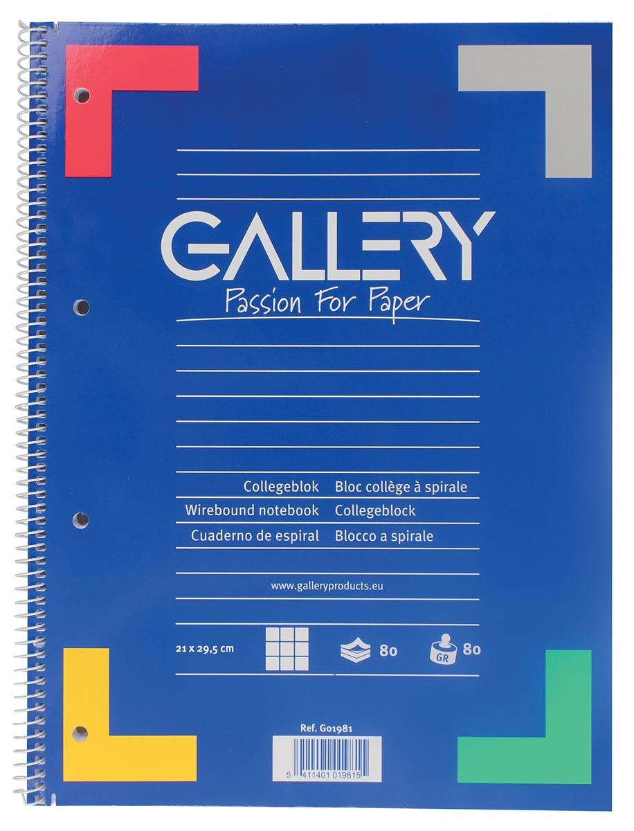Gallery spiraalblok ft A4, geruit 5 mm, 80 vel