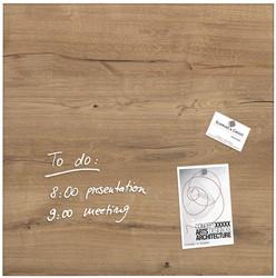 Sigel magnetisch glasbord, houtstructuur, ft 48 x 48 cm