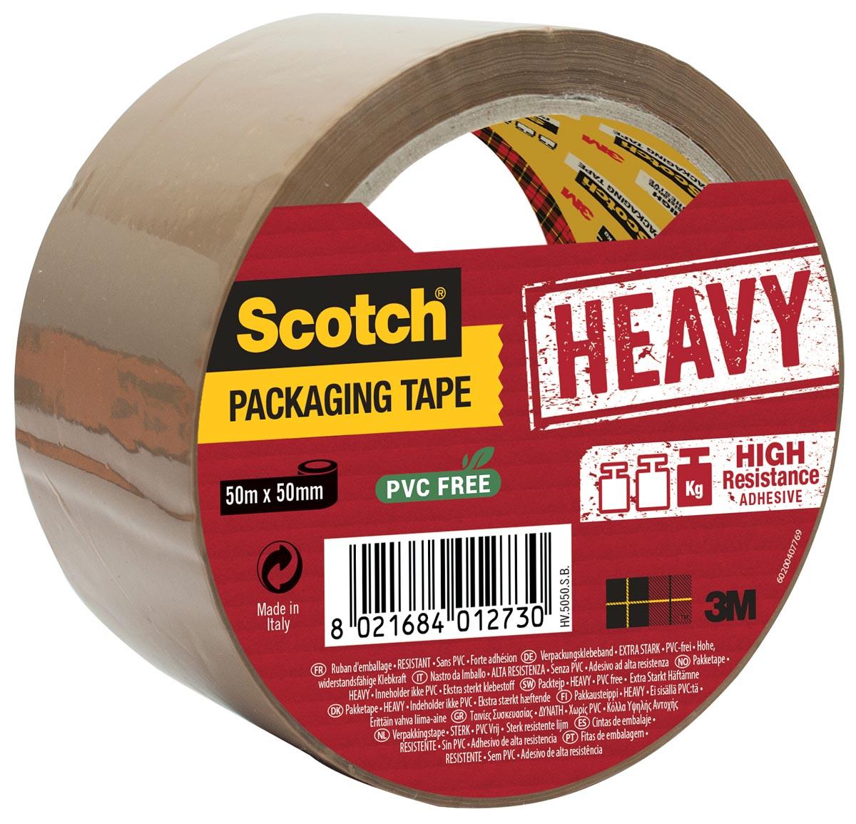 Scotch verpakkingsplakband Heavy, ft 50 mm x 50 m, bruin, per stuk