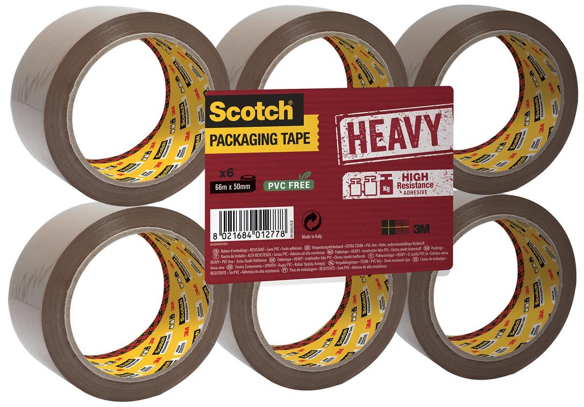 Scotch verpakkingsplakband Heavy, ft 50 mm x 66 m, PP, bruin, pak van 6 stuks