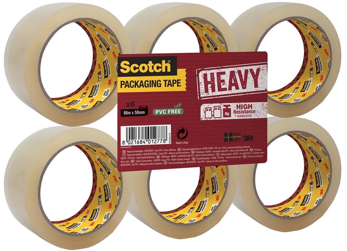 Scotch verpakkingsplakband Heavy, ft 50 mm x 66 m, PP, transparant, pak van 6 stuks