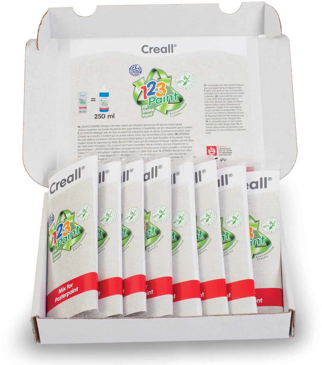 Creall plakkaatverf in poedervorm 1-2-3 Paint, refill set met 8 geassorteerde kleuren