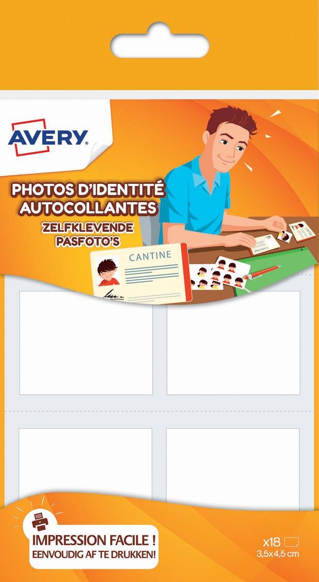 Avery Family zelfklevende pasfoto's, ft 3,5 x 4,5 cm, ophangbare etui met 18 foto's