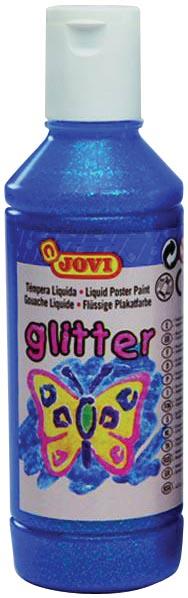 Jovi Plakkaatverf Glitter flacon van 250 ml, blauw