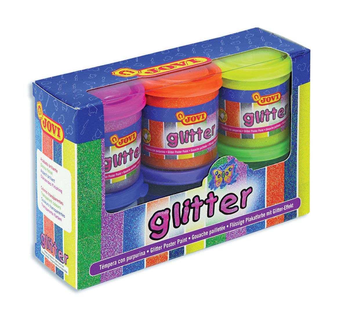 Jovi Plakkaatverf Glitter 6 potjes van 55 ml in geassorteerde kleuren