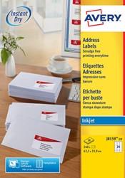 Avery Witte etiketten QuickDry doos van 10 blad, ft 63,5 x 33,9 mm (b x h), 240 stuks, 24 per blad  Me...