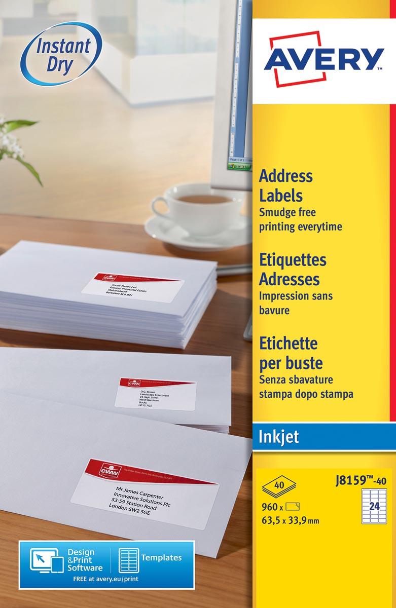 Avery Witte etiketten QuickDry doos van 40 blad, ft 63,5 x 33,9 mm (b x h), 960 stuks, 24 per blad M