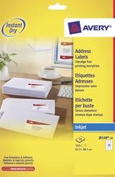 Avery Witte etiketten QuickDry doos van 10 blad, ft 63,5 x 38,1 mm (b x h), 210 stuks, 21 per blad  Me...