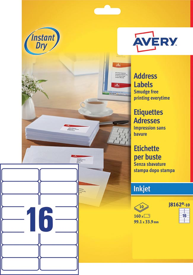 Avery J8162-10 adresetiketten ft 99,1 x 33,9 mm (b x h), 160 etiketten, wit