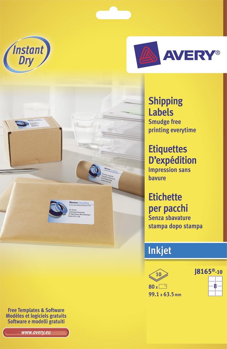 Avery Witte etiketten QuickDry doos van 10 blad, ft 99,1 x 67,7 mm (b x h), 80 stuks, 8 per blad Met