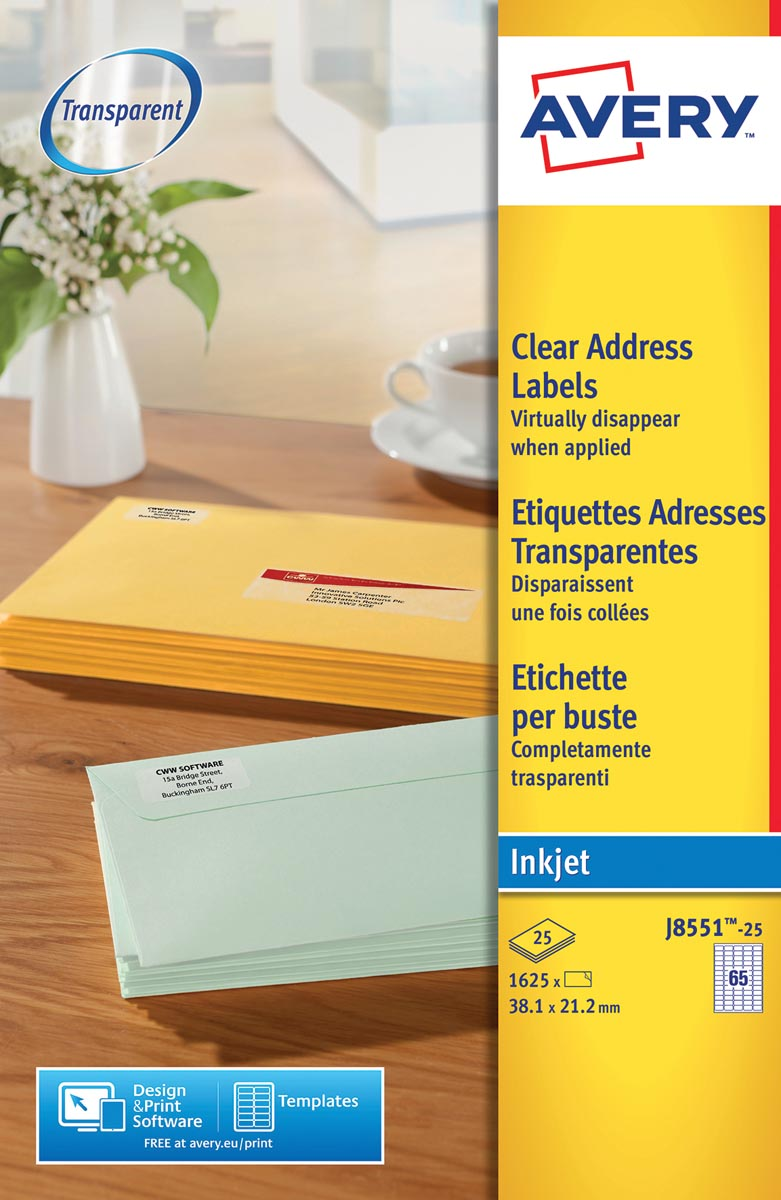 Avery J8551-25 mini etiketten ft 38,1 x 21,2 mm (b x h), 1.625 etiketten, transparant