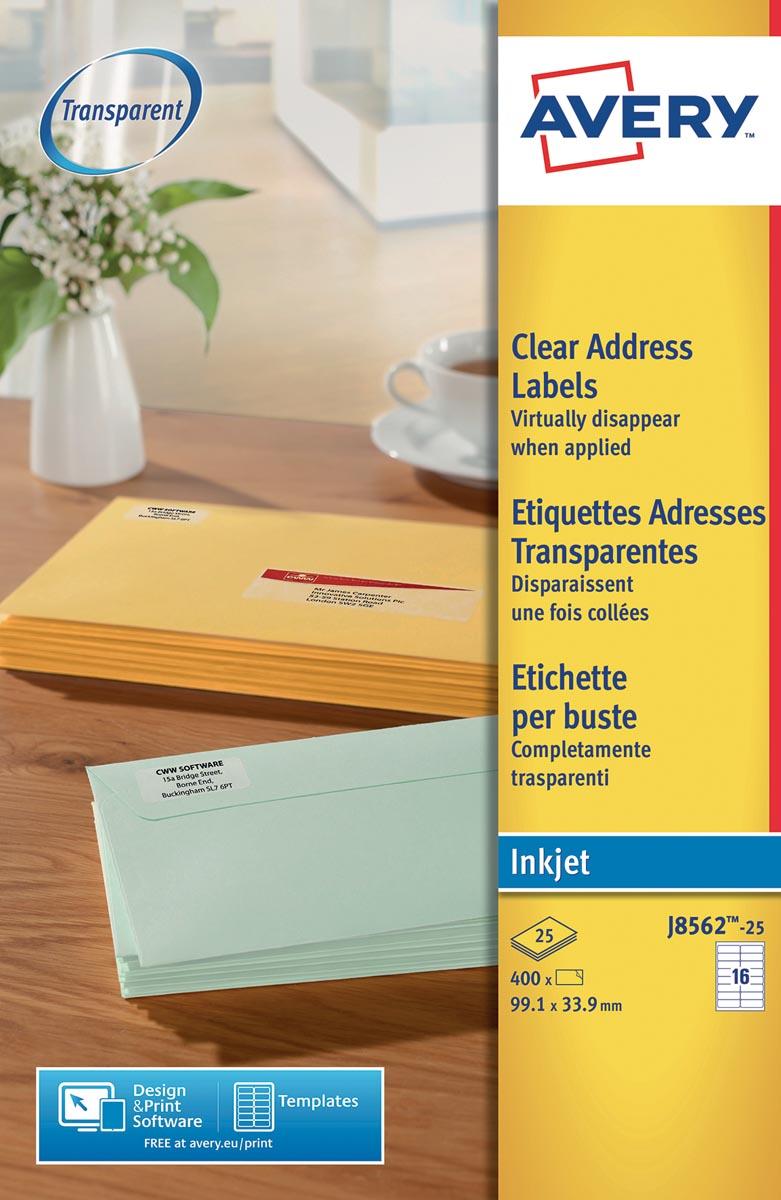 Avery transparante adresetiketten ft 99,1 x 33,9 mm (b x h), 400 stuks, 16 etiketten per blad