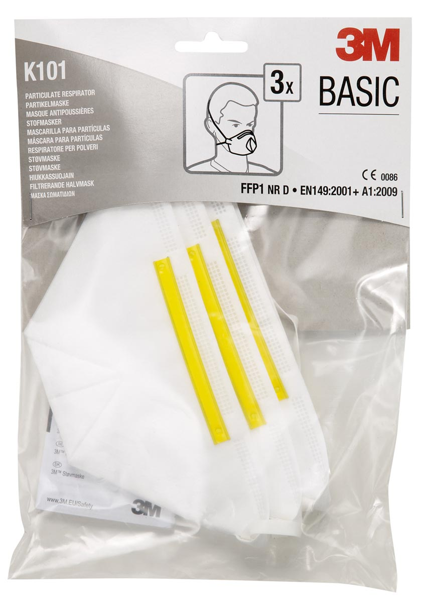 3M fijnstofmasker, beschermingsgraad FFP1, vouwbaar, blister van 3 stuks