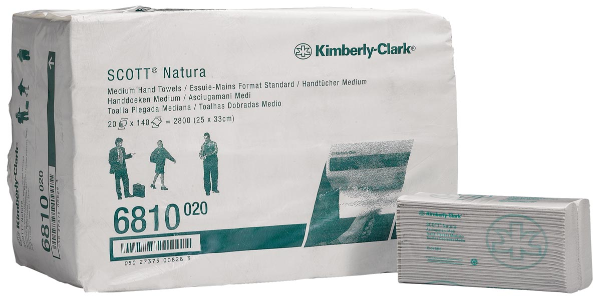 Scott papieren handdoek Natura, C-vouw, 2-laags, 140 vellen, pak van 20 stuks