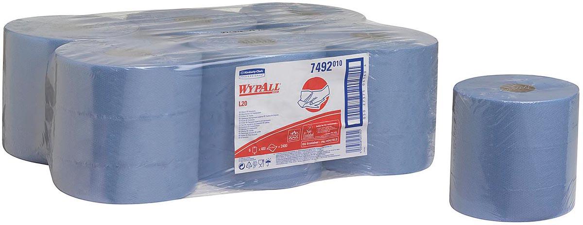 Wypall reinigingsdoeken L10, 1-laags, 6 rollen, 525 doeken, blauw