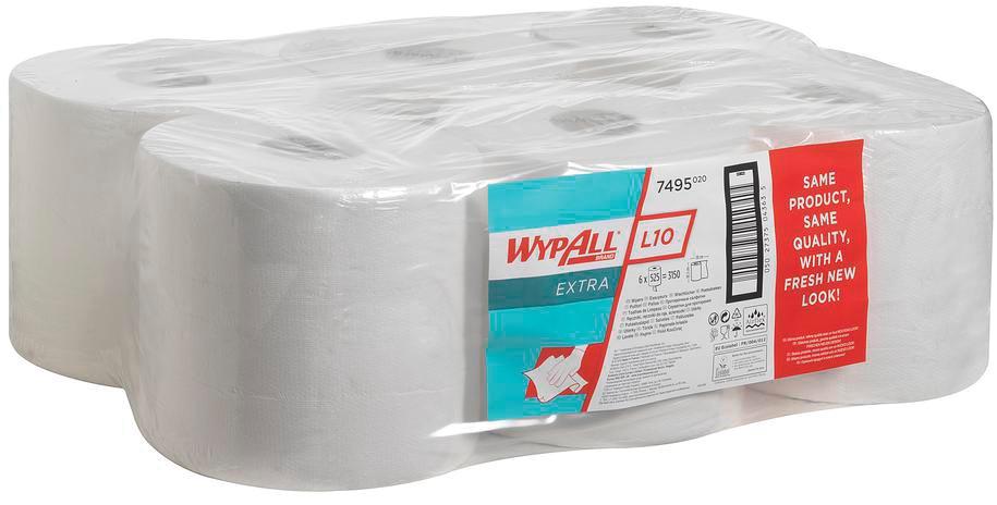 Wypall reinigingsdoeken L10, 1-laags, 6 rollen, 525 doeken, wit