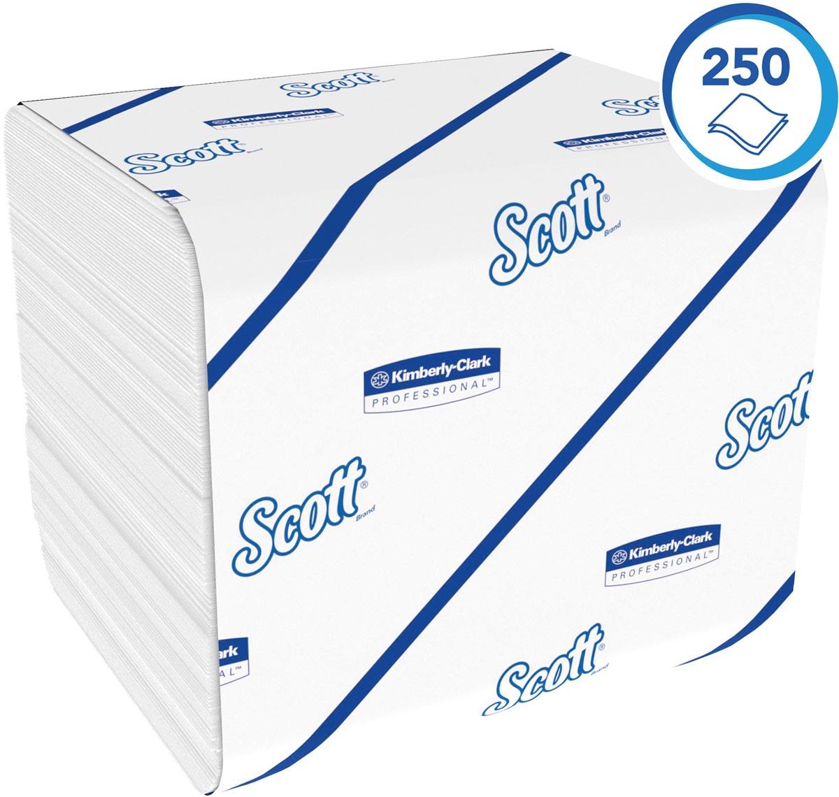 Scott gevouwen toiletpapier voor dispenser, 2-laags, 250 vel, pak van 36 rollen