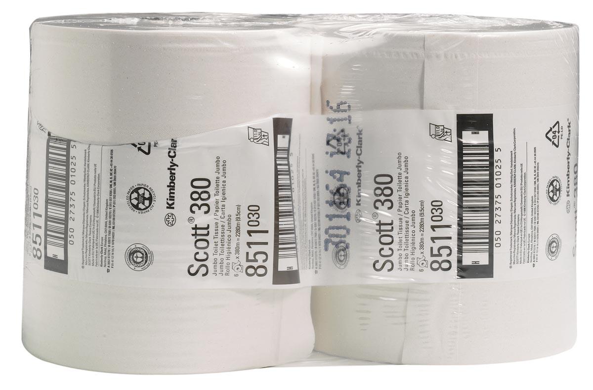 Scott toiletpapier Performance Maxi Jumbo, 2-laags, 380 meter, pak van 6 rollen
