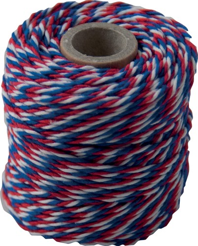 Katoentouw, blauw-wit-rood, klos van 50 g, ongeveer 35 meter