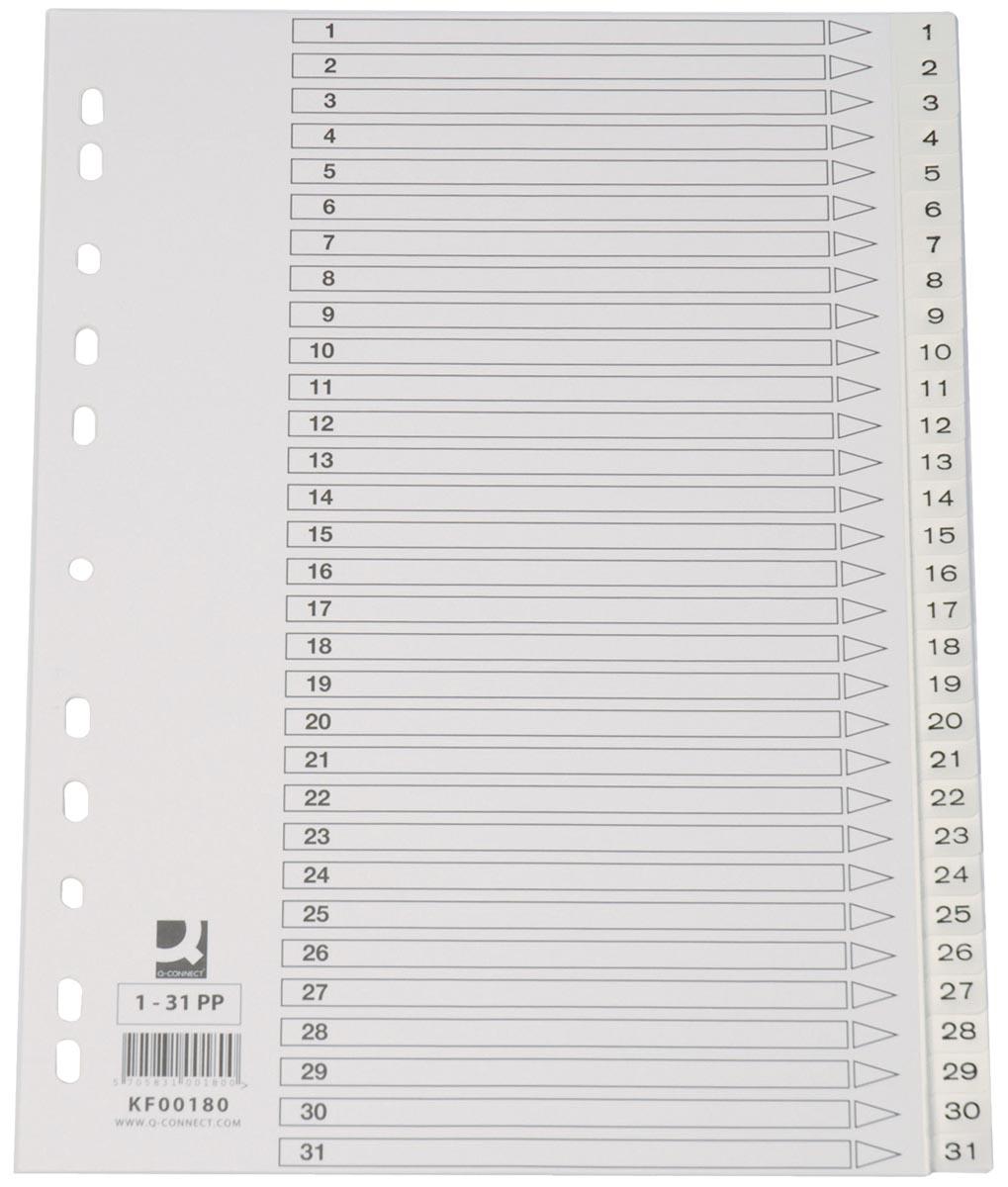 Q-Connect tabbladen set 1-31, met indexblad, ft A4, wit