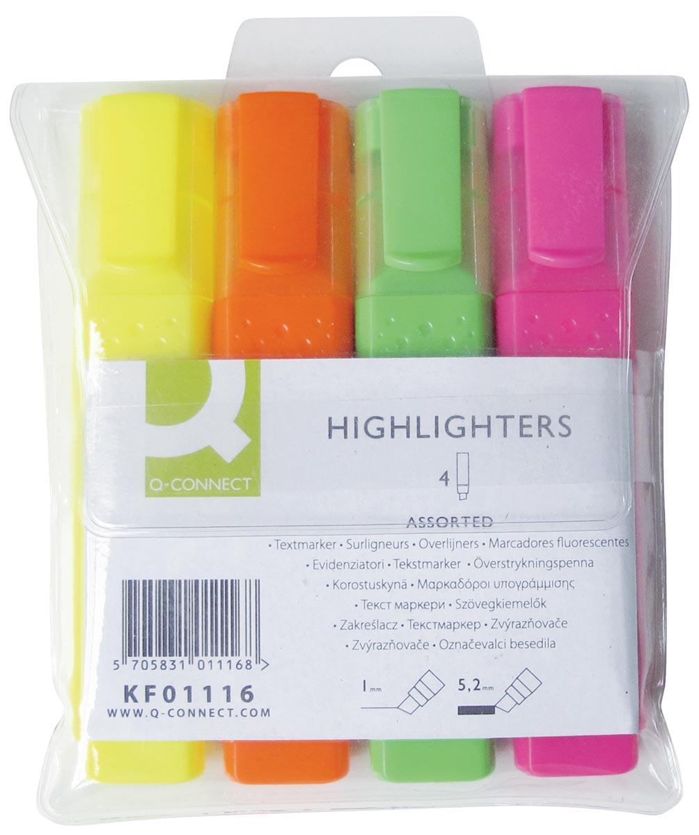 Q-Connect markeerstift, geassorteerde kleuren, etui van 4 stuks