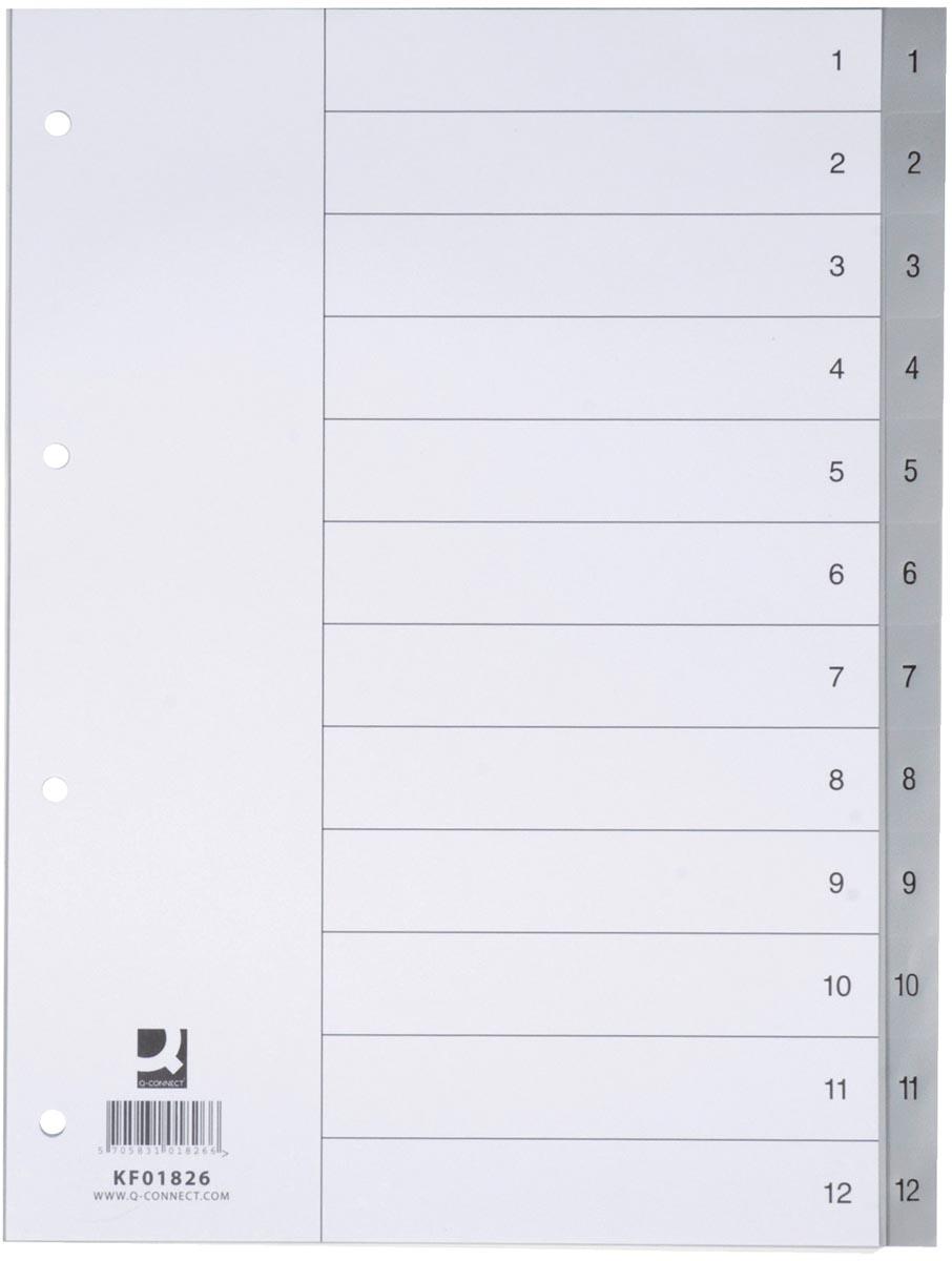 Q-Connect tabbladen set 1-12, met indexblad, ft A4, grijs
