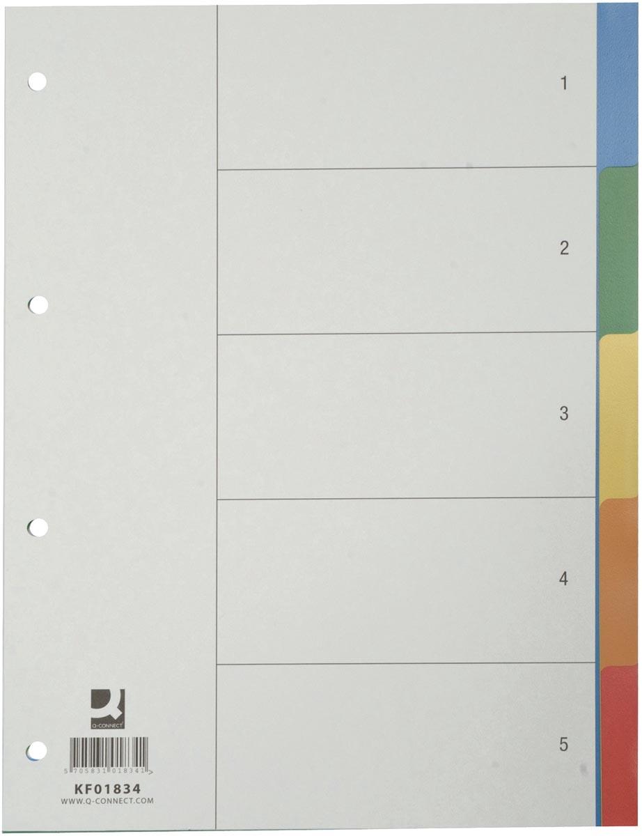 Q-Connect tabbladen set 1-5, met indexblad, ft A4, geassorteerde kleuren