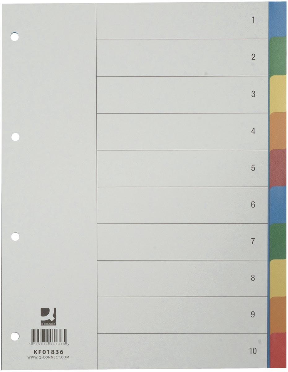 Q-Connect tabbladen set 1-10, met indexblad, ft A4, geassorteerde kleuren