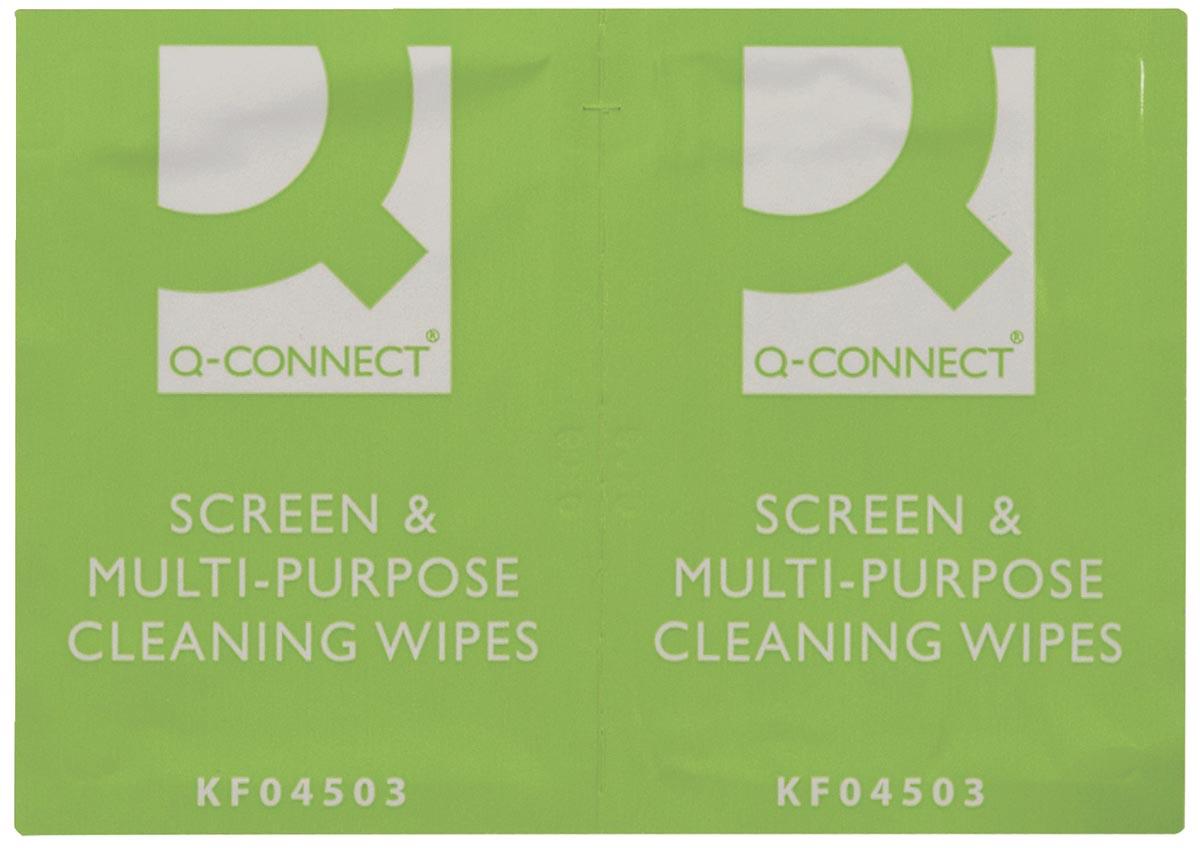 Q-Connect reinigingsdoekjes, multifunctioneel gebruik, doos van 100 zakjes