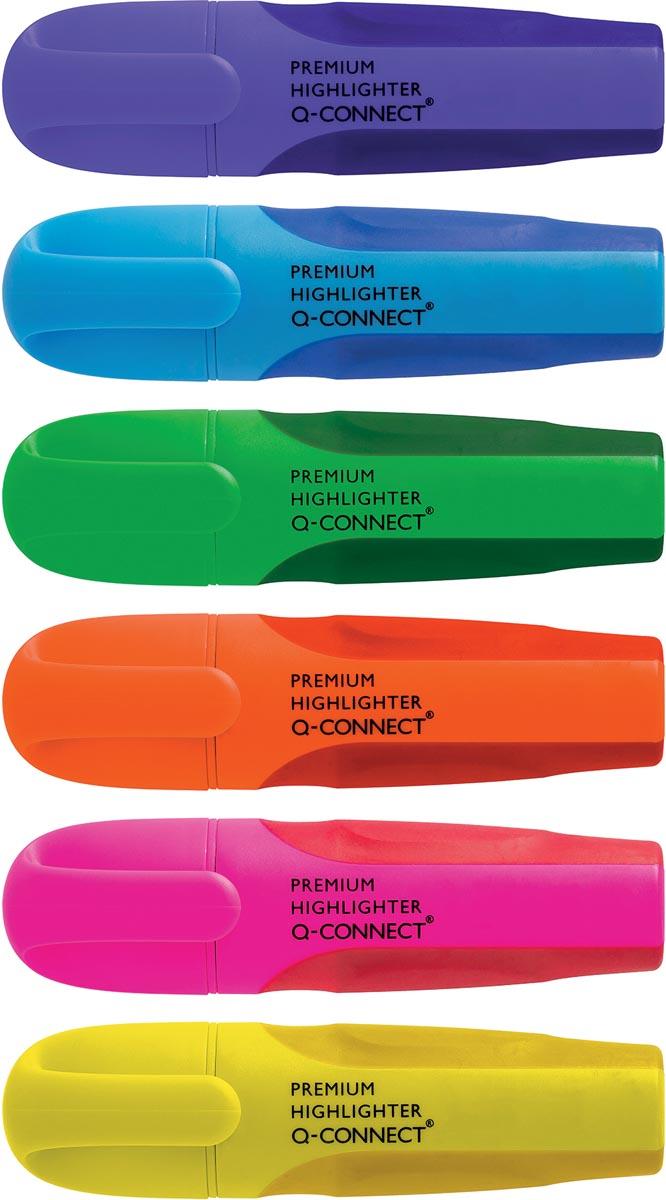 Q-Connect Premium markeerstift, geassorteerde kleuren, pak van 6 stuks