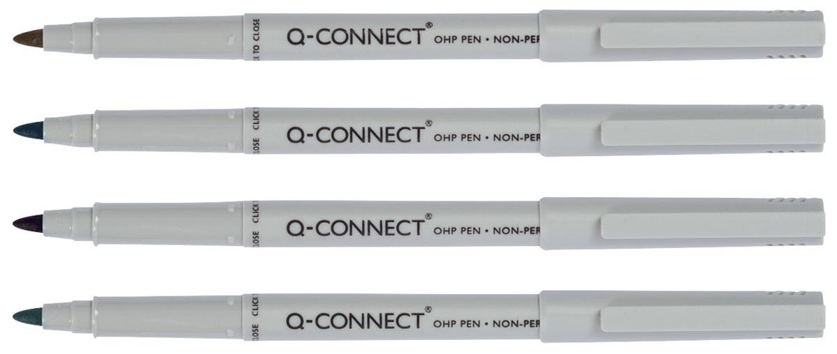 Q-Connect OHP-marker, niet permanent, geassorteerde kleuren, pak van 4 stuks