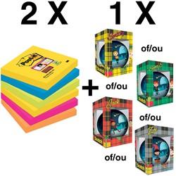 2 x Super Sticky Notes Rio, ft 76 x 76 mm, pak van 6 blok(ref. 654SSRO) + GRATIS kerstbal (ref. KERSTBA)